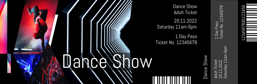 Ticket template: Dance Show Ticket (Created by InfoART's Ticket maker)