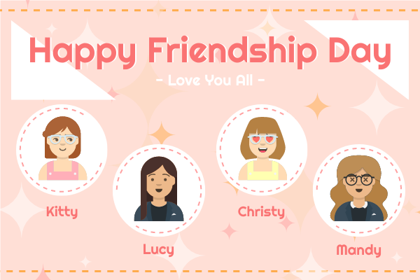 Greeting Card template: Happy Friendship Day Girls Greeting Card (Created by InfoART's Greeting Card maker)