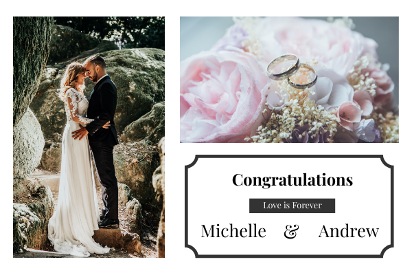 Greeting Card template: Congratulations For Wedding Greeting Card (Created by InfoART's Greeting Card maker)