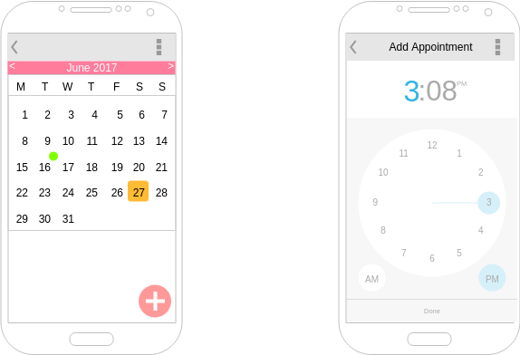 Calendar App (Android Wireframe Example)