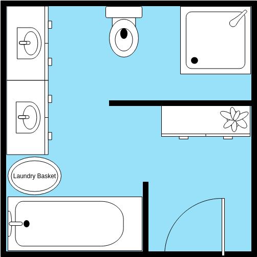Bathroom Floor Plan template: Square Bathroom Layout (Created by Diagrams's Bathroom Floor Plan maker)