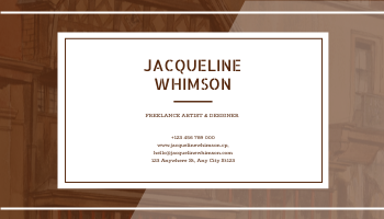 Business Card template: Brown Painting Background Artist Business Card (Created by InfoART's Business Card maker)