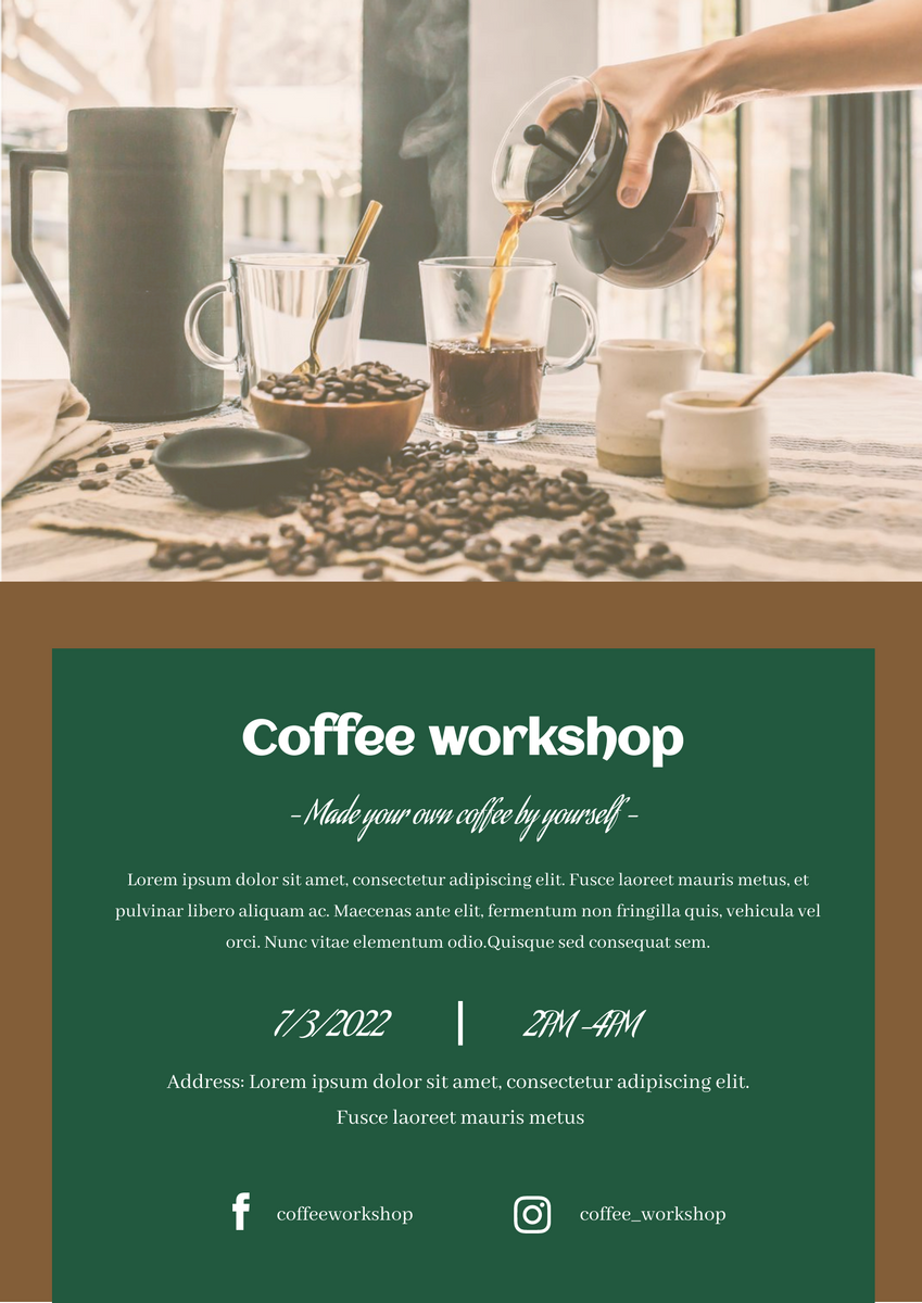 Poster template: coffee workshop poster (Created by InfoART's Poster maker)