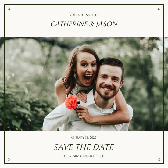 Invitation template: Green Simple Wedding Photo Wedding Invitation (Created by InfoART's Invitation maker)