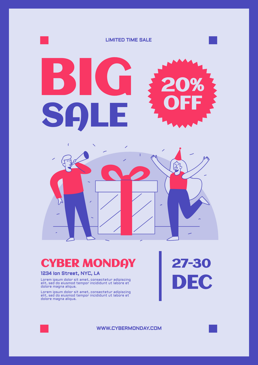 Poster template: Cyber Monday Big Sale Poster (Created by InfoART's Poster maker)