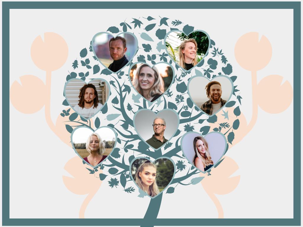 Family Tree template: Heart Shape Photo Family Tree (Created by Collage's Family Tree maker)