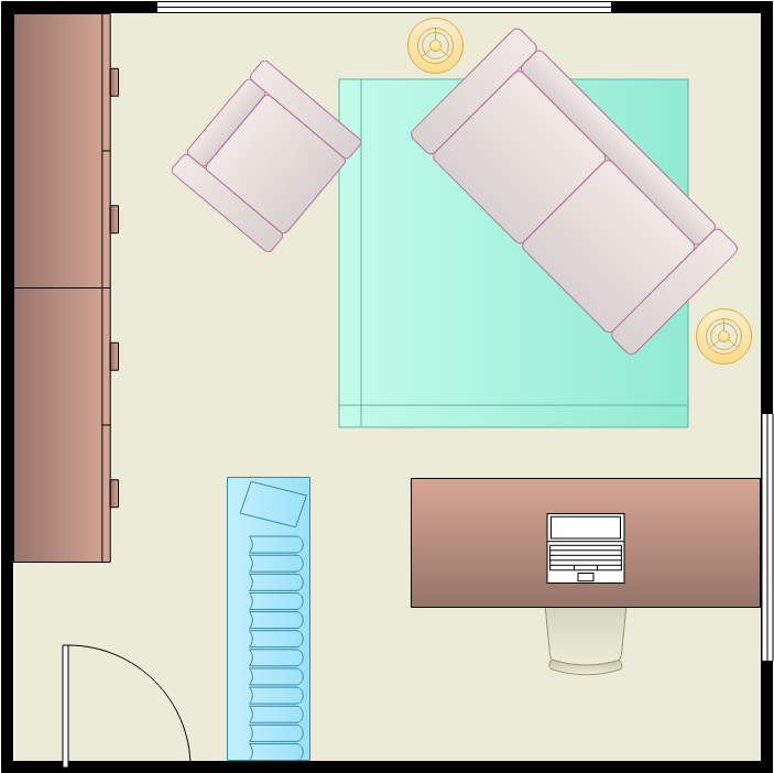 Home Office Floor Plan template: Square Home Office (Created by Diagrams's Home Office Floor Plan maker)