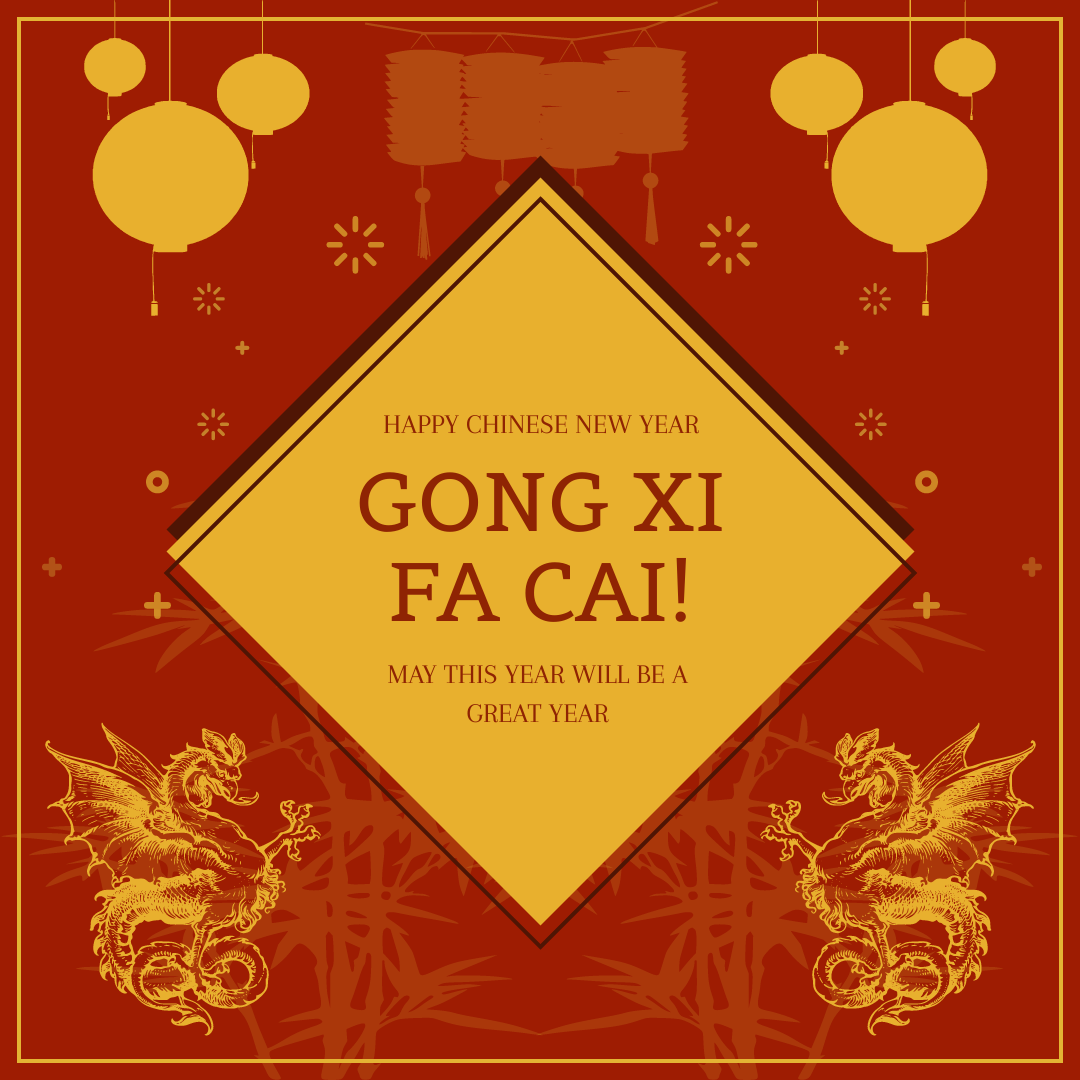 Instagram Post template: Red And Gold Decoration Lunar New Year Instagram Post (Created by InfoART's Instagram Post maker)