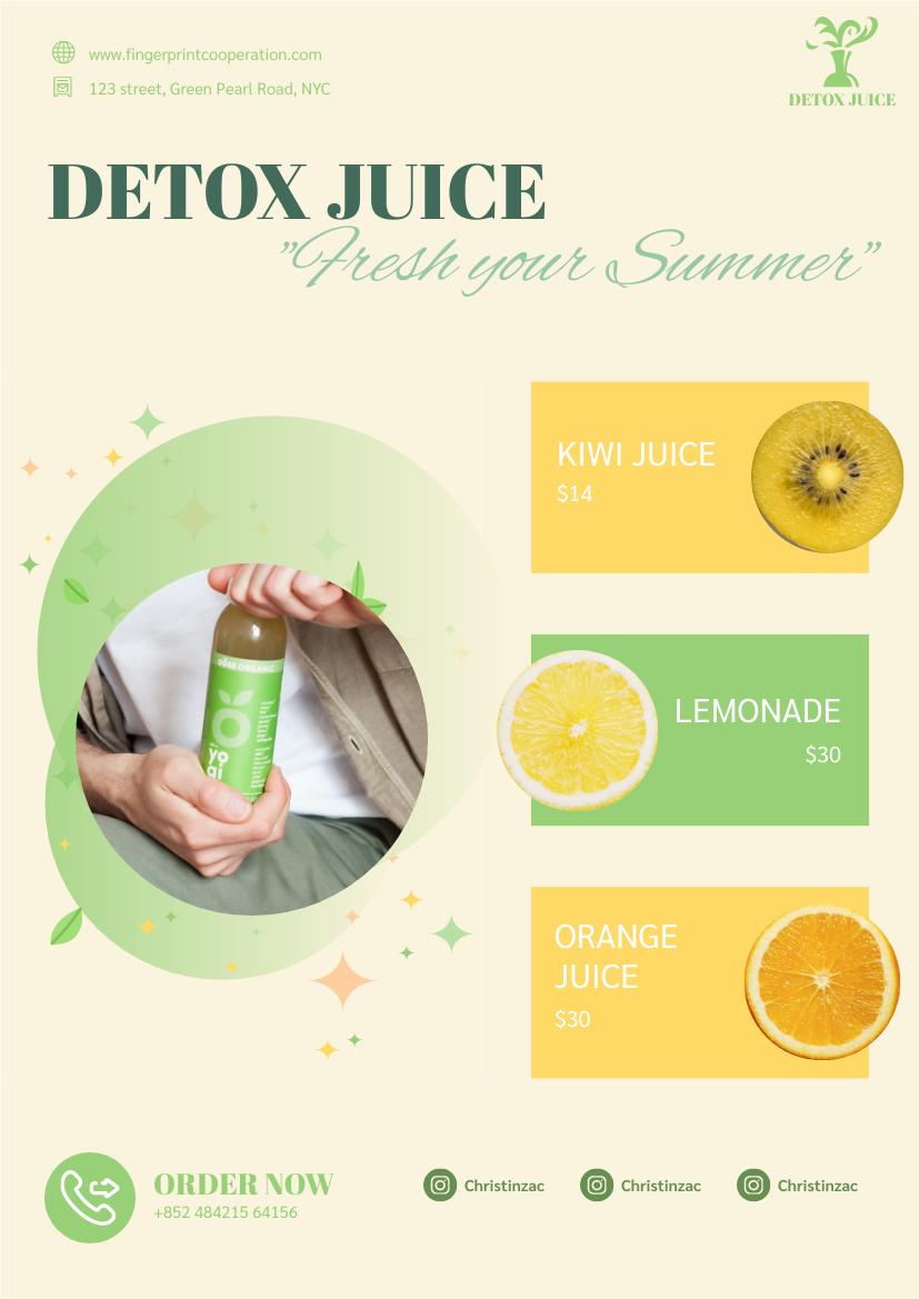 Flyer template: Detox Juice Promote Poster (Created by InfoART's Flyer maker)