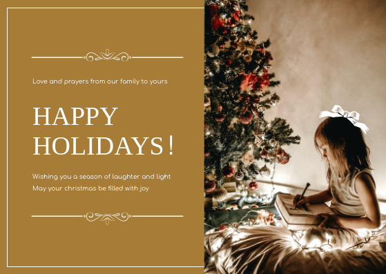 Postcard template: Golden Brown Happy Holidays For Christmas Postcard (Created by InfoART's Postcard maker)