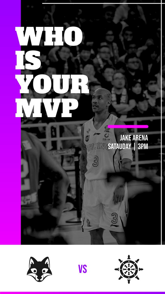 Instagram Story template: Purple Gradient Basketball Watch Instagram Story (Created by InfoART's Instagram Story maker)
