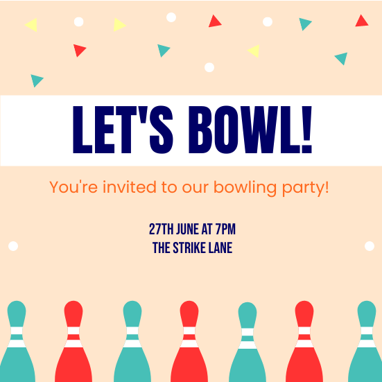 Invitation template: Bowling Invitation (Created by InfoART's Invitation marker)