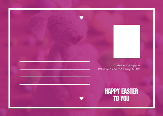Postcard template: Pink Easter Rabbit Photo Easter Postcard (Created by InfoART's Postcard maker)