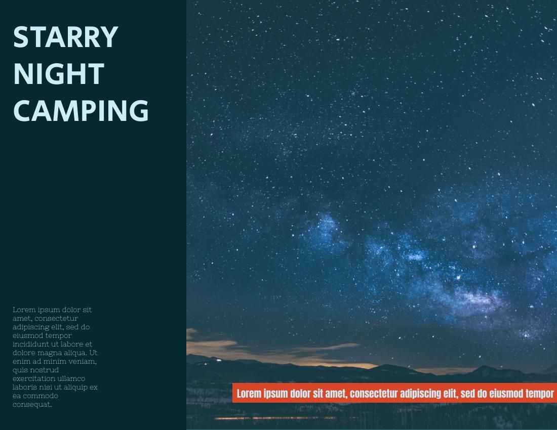 Brochure template: Starry Night Camping Brochure (Created by InfoART's Brochure maker)