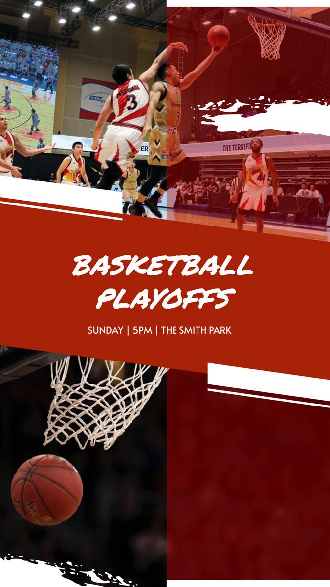 Instagram Story template: Red Basketball Photo Basketball Playoffs Instagram Story (Created by InfoART's Instagram Story maker)