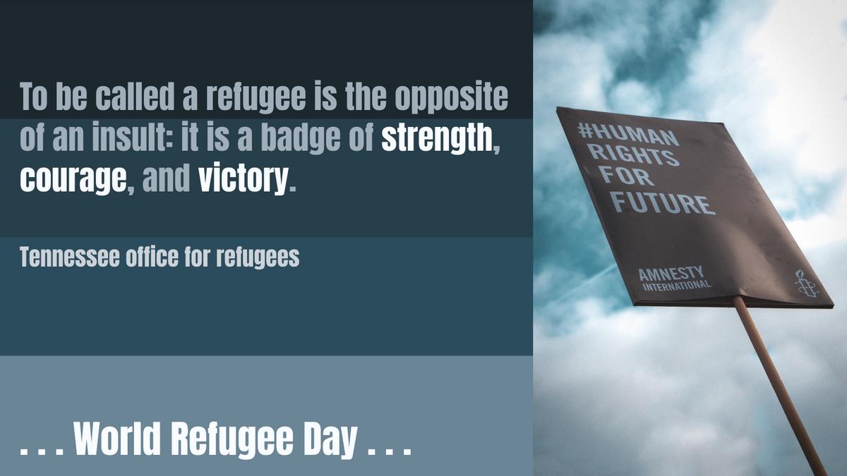 Twitter Post template: World Refugee Day Blue Twitter Post (Created by InfoART's Twitter Post maker)