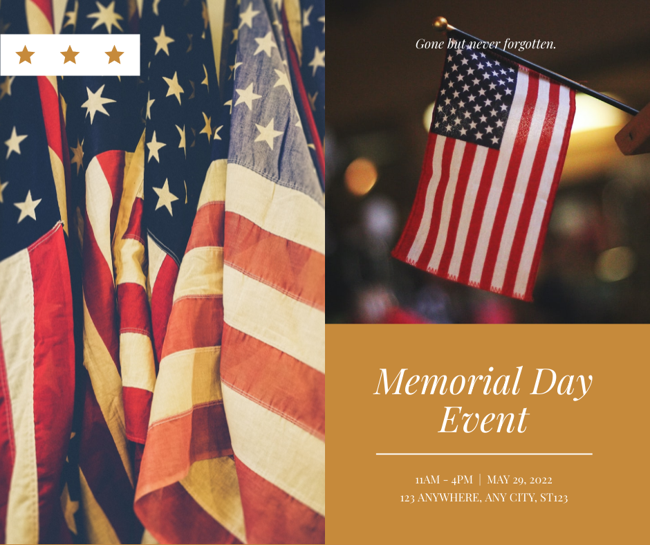 Facebook Post template: Simple Brown Flag Photo Memorial Day Facebook Post (Created by InfoART's Facebook Post maker)