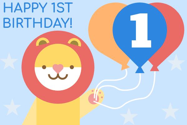 Greeting Card template: Lion 1st Birthday Card (Created by InfoART's Greeting Card marker)