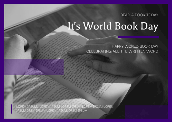Postcard template: Purple And Black Reading Photo World Book Day Postcard (Created by InfoART's Postcard maker)