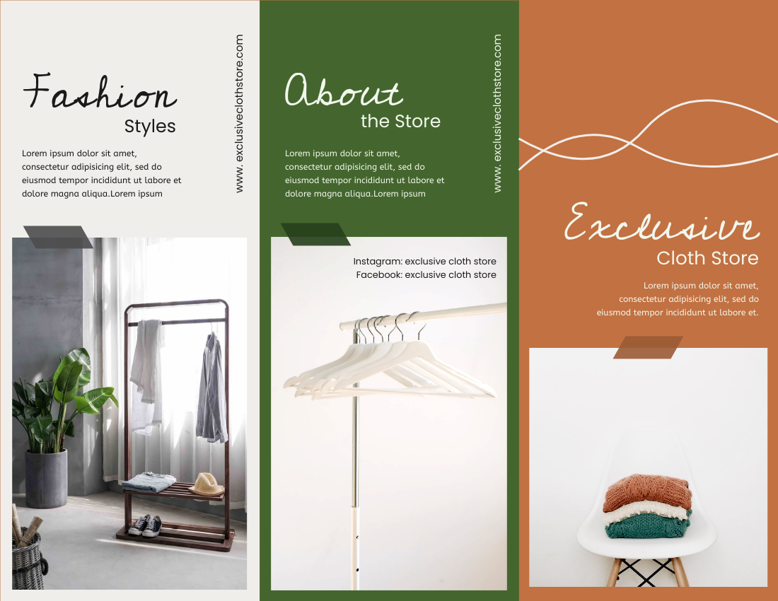 Brochure template: Exclusive Cloth Store Brochure (Created by InfoART's Brochure maker)