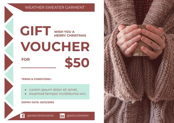 Gift Card template: Sweater Gift Voucher Card (Created by InfoART's Gift Card maker)