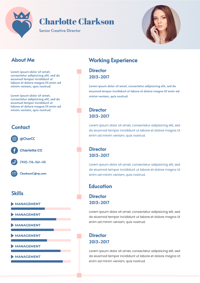 Resume template: Minimal Carnation Resume (Created by InfoART's Resume maker)