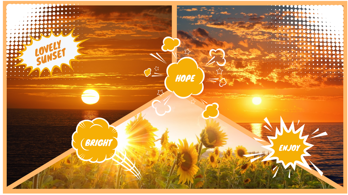 Comic Strip template: Lovely Sunset Comic Strip (Created by Collage's Comic Strip maker)