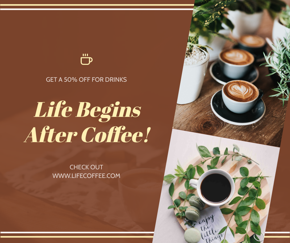 Facebook Post template: Brown Coffee Photo Coffee Shop Facebook Post (Created by InfoART's Facebook Post maker)