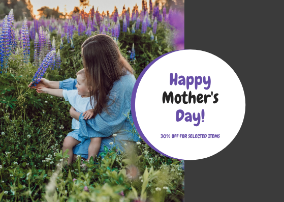 Gift Card template: Purple And Black Photo Mother's Day Gift Card (Created by InfoART's Gift Card maker)