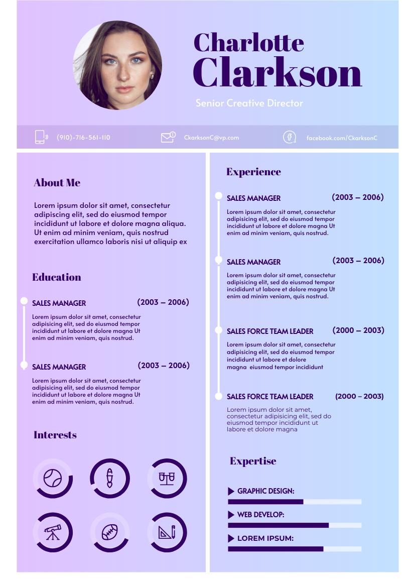 Resume template: Chetwode Pink Resume (Created by InfoART's Resume maker)