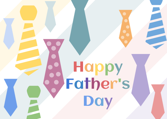 Postcard template: Rainbow Tie Happy Father's Day  Postcard (Created by InfoART's Postcard maker)