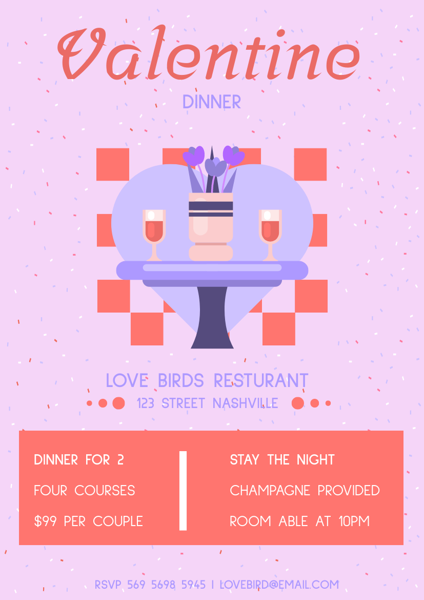 Flyer template: Valentine Dinner Promotion Flyer (Created by InfoART's Flyer maker)