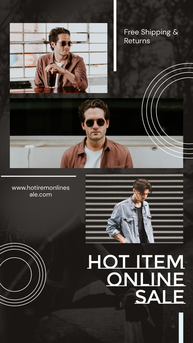 Instagram Story template: Grey And Brown Men Fashion Online Sale Instagram Story (Created by InfoART's Instagram Story maker)