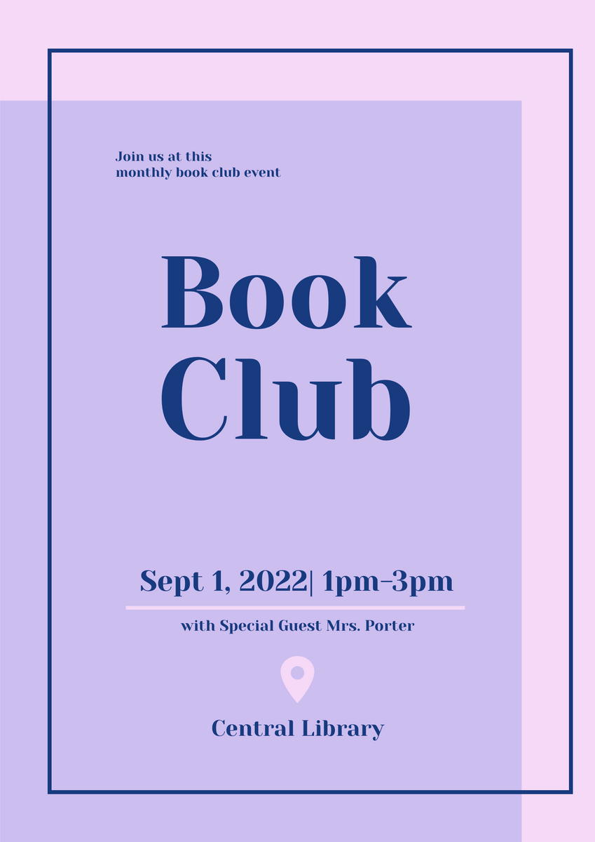 Poster template: Book Club Poster (Created by InfoART's Poster maker)