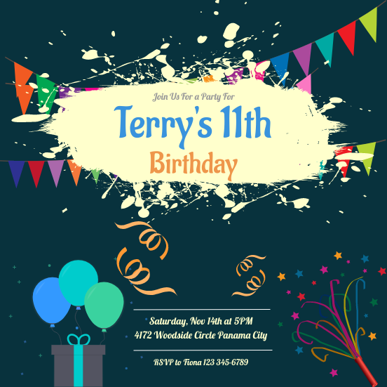 Invitation template: Terry's Birthday Invitation (Created by InfoART's Invitation marker)