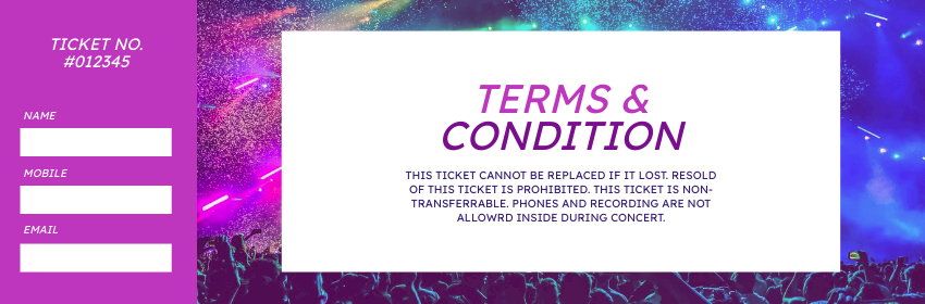 Ticket template: Concert And Event Ticket (Created by InfoART's Ticket maker)