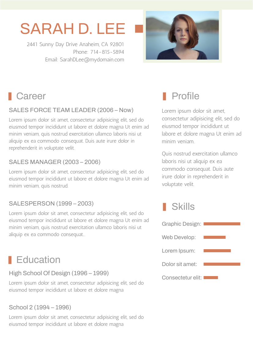 Light Green and Orange Theme Resume