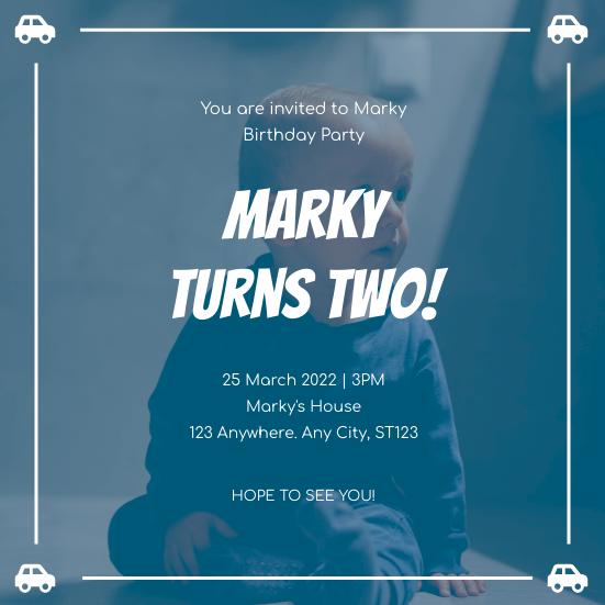Invitation template: Blue Baby Boy Birthday Party Invitation (Created by InfoART's Invitation maker)