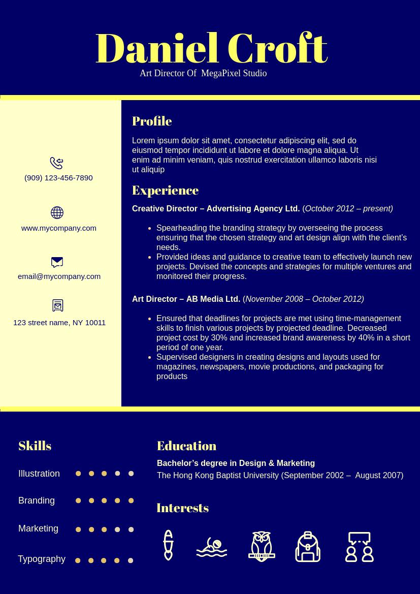 High Contrast Theme Resume 4