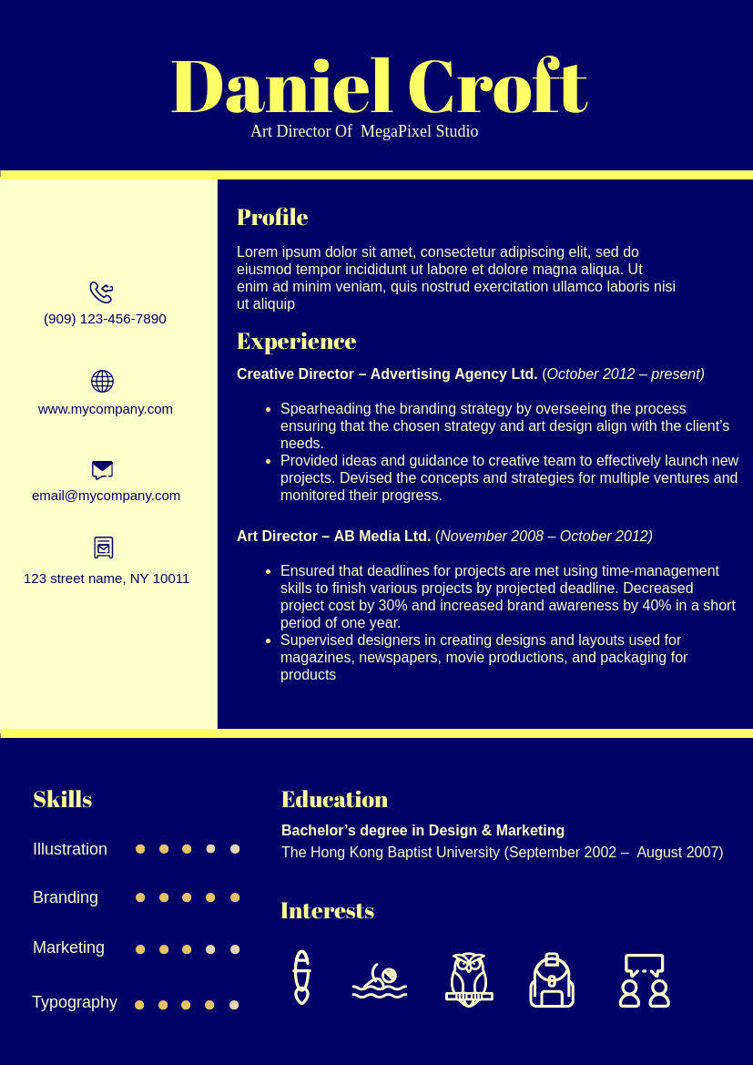 Resume template: High Contrast Theme Resume 4 (Created by InfoART's Resume maker)