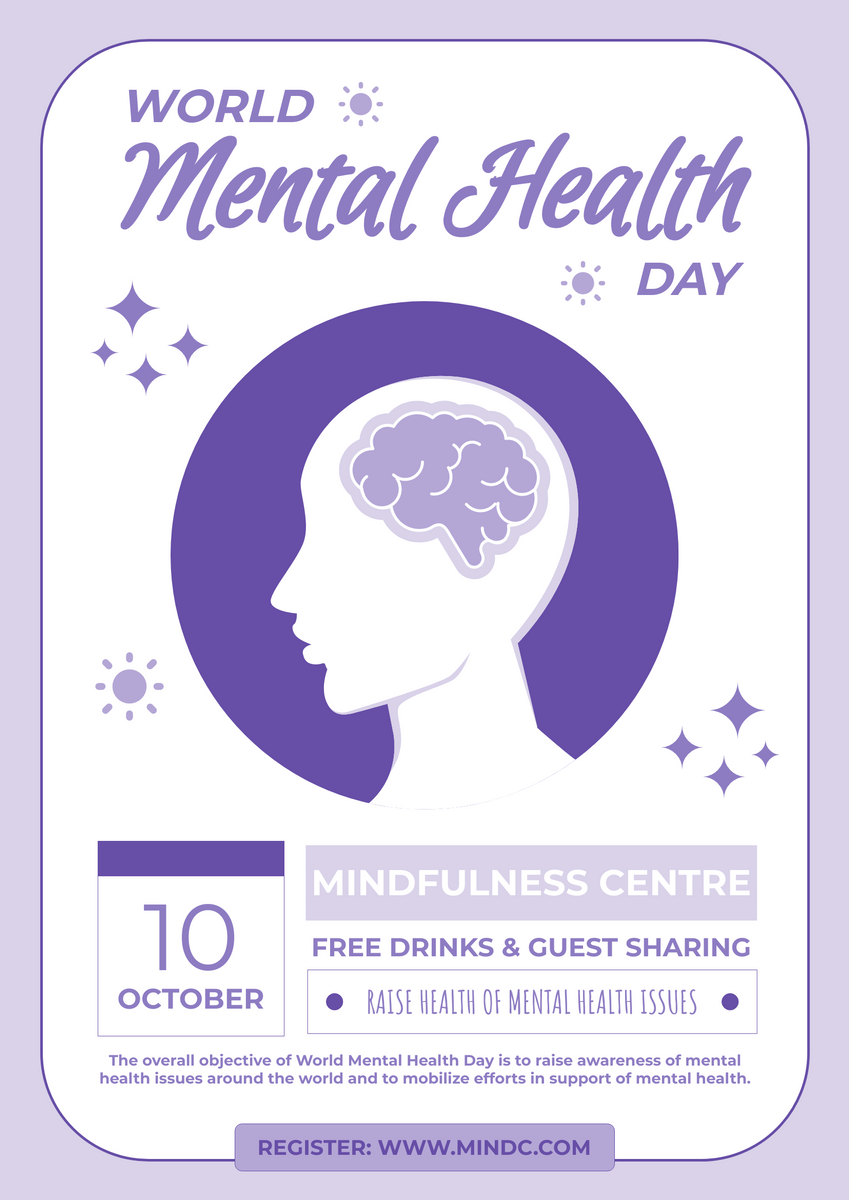 Poster template: World Mental Health Day Sharing Poster (Created by InfoART's Poster maker)