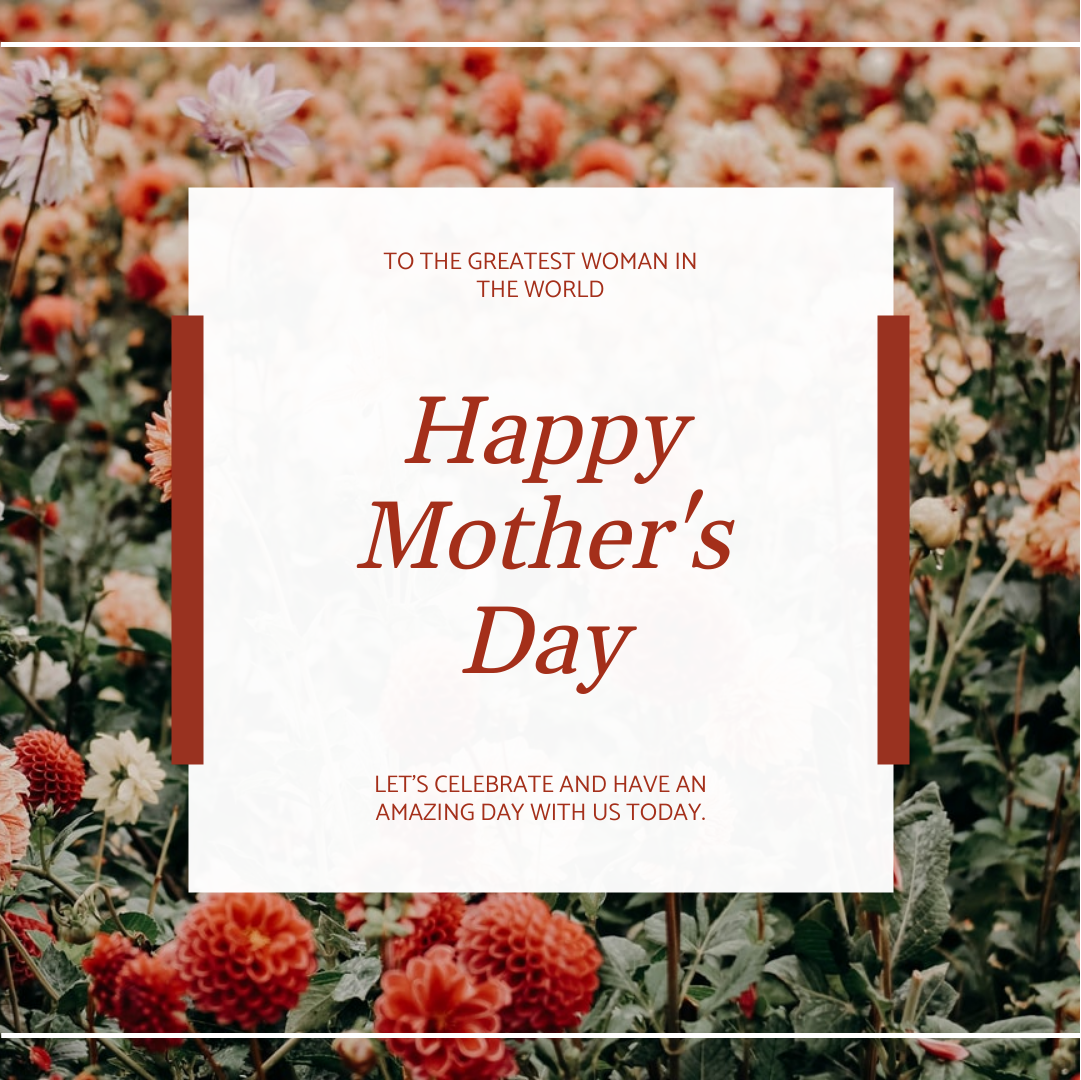 Instagram Post template: Red Flowers Background Mother's Day Instagram Post (Created by InfoART's Instagram Post maker)