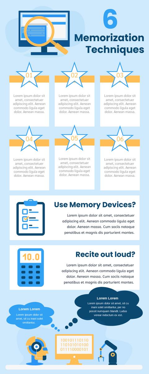 Infographic template: 6 Memorization Techniques Infographic (Created by InfoART's Infographic maker)