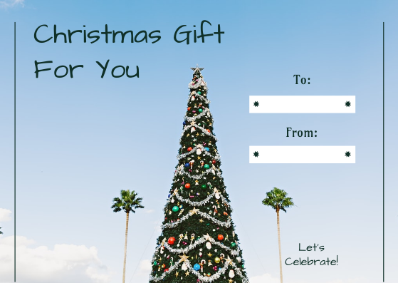 Gift Card template: Christmas Tree And Sky Photo Gift Card (Created by InfoART's Gift Card maker)