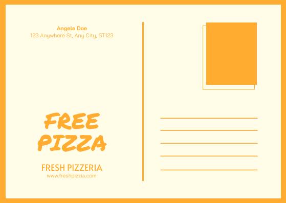 Postcard template: Orange Pizza Photo Restaurant Postcard (Created by InfoART's Postcard maker)