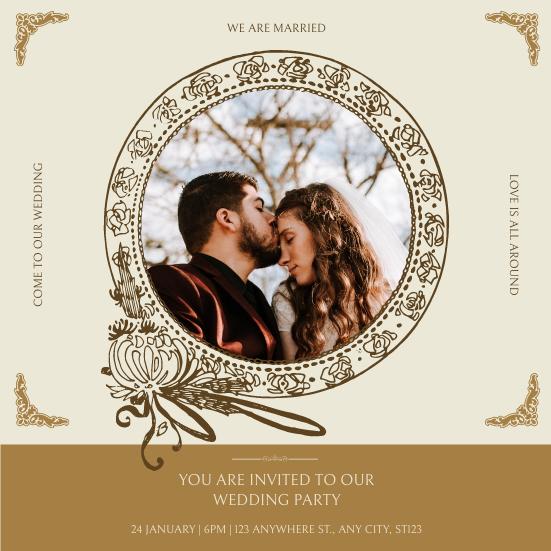 Invitation template: Gold Brown Photo Circle Wedding Invitation (Created by InfoART's Invitation maker)