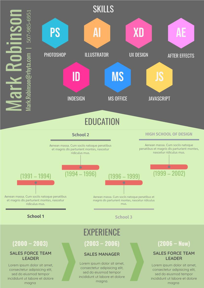 Resume template: Creative Resume (Created by InfoART's Resume maker)