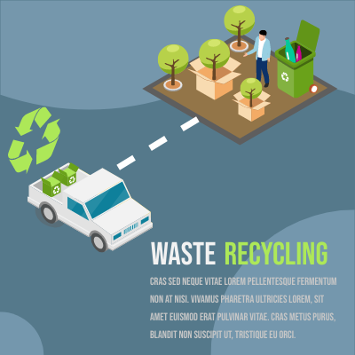 Isometric Diagram template: Waste Recycling (Created by InfoART's Isometric Diagram maker)