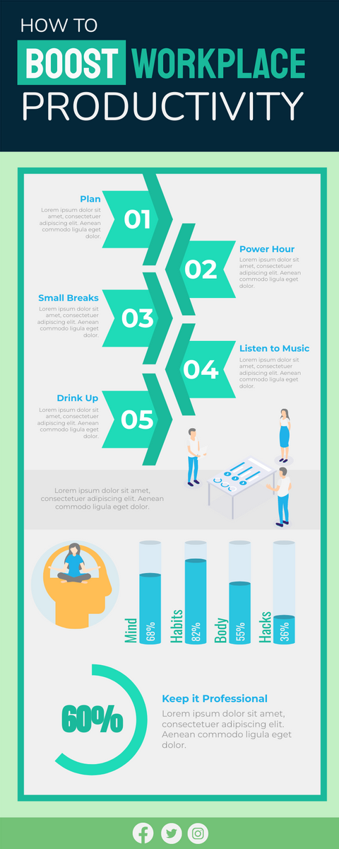 Infographic template: Boost Workplace Productivity Infographic (Created by InfoART's Infographic maker)
