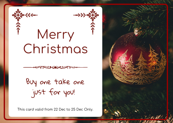 Gift Card template: Christmas Tree Buy One Take One Gift Card (Created by InfoART's Gift Card maker)